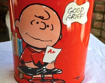 Vintage Snoopy and Charlie Brown Trash Can