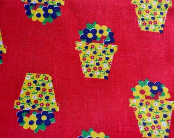 Vintage Fabric - Yellow Calico Flowerpots on Red Broadcloth - 44 x 32