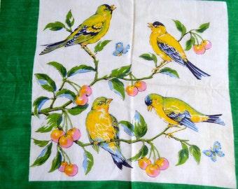Vintage Hankie - Yellow Birds in Cherry Tree
