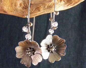 Angel Roses Sterling Silver Earrings Handmade Metalwork Original Unique