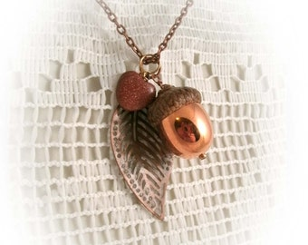 Rustic Acorn Necklace Copper coated Real Acorn cap with Sparkle Stone Heart