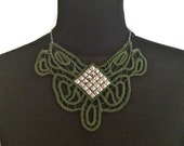 ON SALE Olive Green and Silver Studded Applique Lace Fiber Bib Necklace on Silver Chain