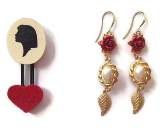 ON SALE Romantic Prada Inspired Red Rose Earrings with Pearls and Gold Leaves in Red White Gold