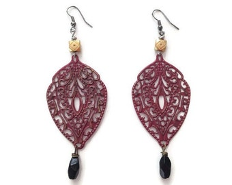 Rust Lace Filagree Dangle Earrings with Black Crystal Drops in Gold, Brown, Black on Dark Silver Plated Hooks