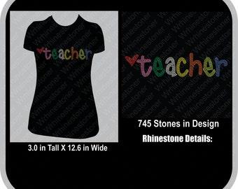 Teacher Rhinestone T Shirt