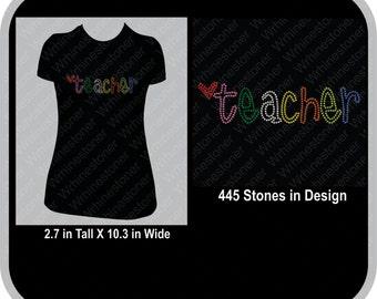 Teacher Outline Rhinestone T Shirt