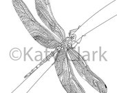 Dragonfly #2 Adult Coloring Page DIGITAL file