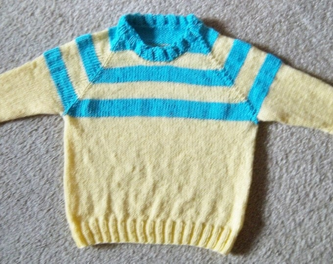 Sweater - Hand Knitted Raglan Sweater for 4 year old Children - Boy or Girl