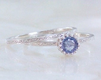 Natural Cornflower Blue Sapphire Scrolling Vine Engraved Vintage Style Alternative Wedding Set Sterling Silver Eco Friendly Recycled Silver