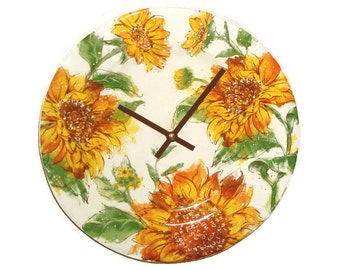 Gold and Brown Sunflower Wall Clock, 10-1/2 Inch Floral Ceramic Plate Clock, Kitchen Clock, Living Room Clock, Autumn Colors - 1933
