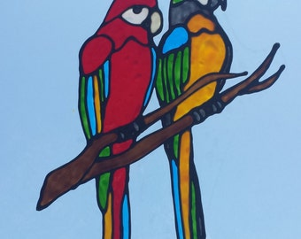 Two Parrots On A Branch Stained Glass Window Cling