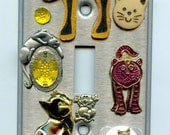 Cat Theme Light Switch Cover With Jewelry Parts Charms Cabouchons