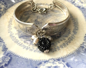 Antique Silver Spoon Bracelet with genuine black Onyx carved flower bead and pearls