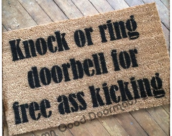 knock or ring bell for free ass kicking™ rude, funny doormat