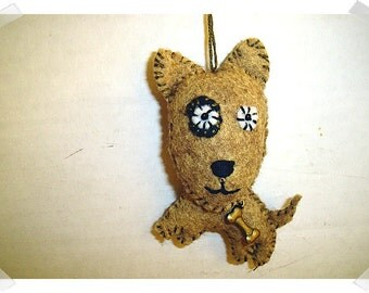 Brown Dog Ornament/ Made of Felt/Handmade*/ Single OR Set of 2/ MADE to Order**
