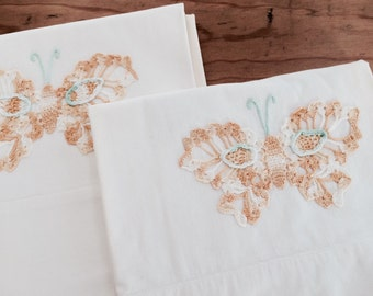 Set of Two Vintage White Pillow Cases with embroidered Butterflies and Lace