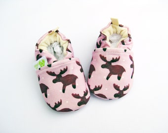 Organic Knits Vegan Watercolor Moose in Lilac / All Fabric Soft Sole Baby Shoes / Made to Order / Babies Pink