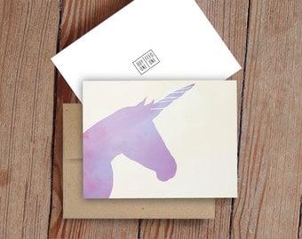 Purple Unicorn -  Notecard