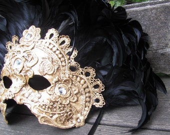 Venetian masquerade mask, gold with black feathers, Imperatrice