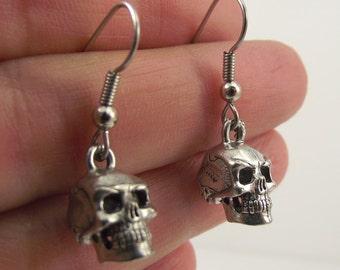 Detailed Antiqued Silver Skull Earrings, Pewter Skull Earrings