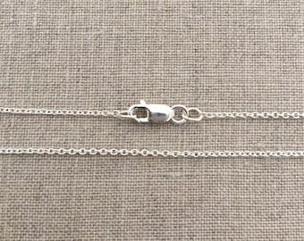 "18"" Sterling Silver Chain, Silver Cable Chain Necklace, Silver Light Cable Chain, Plain, Thin Silver Chain, Delicate Silver Necklace, SC1"