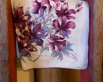 """Vintage Hankie/Hanky """"Purple Watercolor Lilies"""" Printed Hankie"""