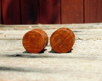 16mm Madrone burl wood ear plugs, hand turned 5/8ths guages, Beautiful pair