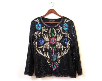 BTS SALE Vintage 80s Evening Glam Silk Sequined and Beaded Floral Art Deco Top s m l