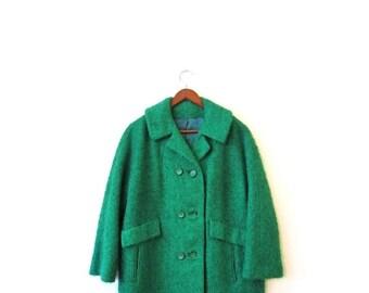 BTS SALE Vintage 50s SHAMROCK Green Button Up Duster Coat m l