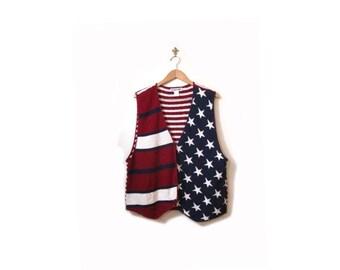 BTS SALE Vintage 90s Oversized Red White and Blue Knit Grunge Revival Americana Button Up Vest m l xl