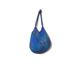 BTS SALE Vintage 90s Blue and Teal DIAMOND Hand Knit Slouchy Boho Chic Shoulder Purse