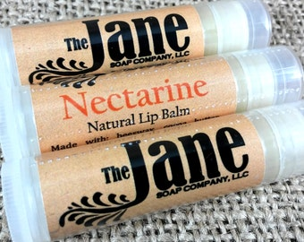 Nectarine Lip Balm - All Natural Lip Balm - Beeswax and Cocoa Butter