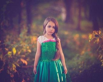 Frozen Fever costume Elsa inspired green  dress 7 satin style skirt