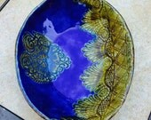 Oval Ceramic Bowl Cobalt Blue and Gold