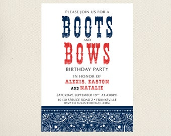 Boots and Bows Birthday Party Invite