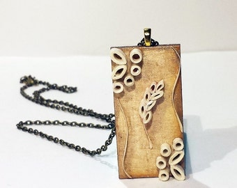 """Paper Quilled Wheat Gold Pendant - 1x2"""" wooden domino tile necklace"""