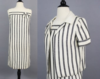 vintage 60s Parisian Striped Linen Shift Dress with Jacket / 1960s Shannon Rodgers for Jerry Silverman Classic Sophisticated Dress Suit / XS
