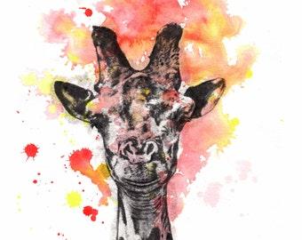 Giraffe Art Print from Original Watercolor Painting Print 8x10 in. print Kids Room Wall Art Nursery Decor Art Giraffe Nursery Wall Decor