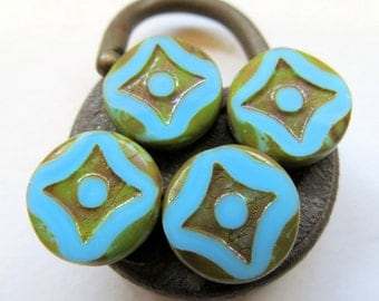 NEW Sky Blue Coins . Czech Picasso Glass Beads . 14 mm (5 beads)