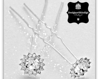 Silver Rhinestone Cluster Hair Pins 2 piece Bobby Pins