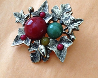 Leaves and Acorn Brooch Rust Green Yellow