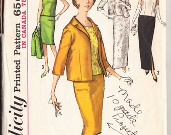 Vintage 1963 Simplicity 5206 Sewing Pattern Misses' Skirt in Two Lengths, Overblouse and Jacket Size 10 Bust 31