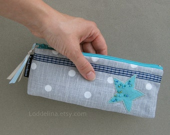 PENCIL CASE blue grey turquoise teal polka dot star applique