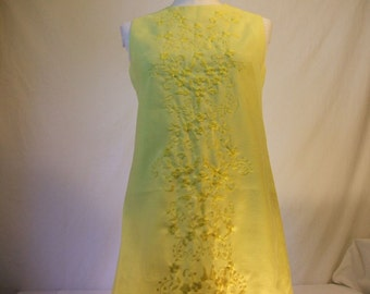 Yellow Embroidered Cotton Shift Dress