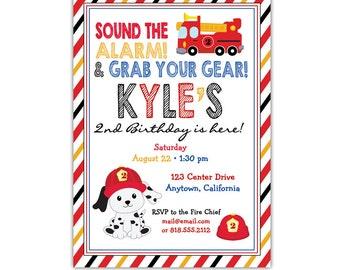 Firetruck Birthday Invitation • Fireman Invite • Fire Truck Party • Fireman Birthday • Firetruck Birthday Party • Personalized Digital File