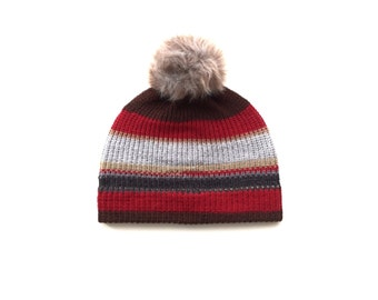 Red pom pom hat, knitted winter beanie accessory FREE SHIPPING