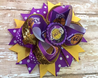 LA Lakers Hair Bow, NBA Hair Bow, Basketball, OTT, Purple and Gold, Perfect for Infants, Toddlers, Big Girls, Adults and Teens, Baby headban