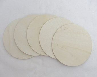 """5 Wooden Circle discs, wood disk 5"""" x 1/8"""" thick unfinished DIY"""
