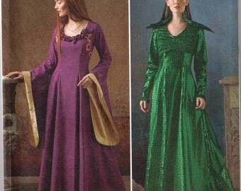 Medieval fantasy costume, Adult Halloween costume pattern, Simplicity 1137 size 14-22