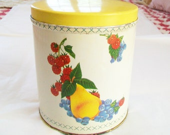 Vintage Metal Canister, Kitchen, 1950s, 1960s, storage, yellow